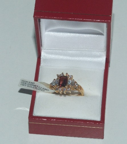 garnet and CZ ring